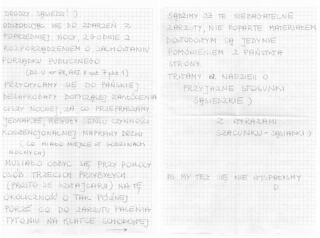 List od sąsiadów